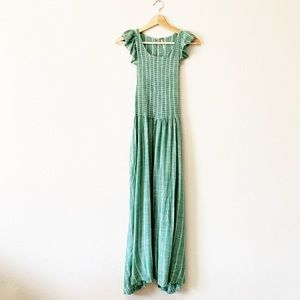 Free People Ruffle Sleeve Smocked Maxi Dress